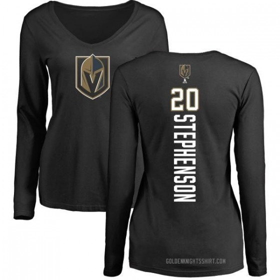 Women's Chandler Stephenson Vegas Golden Knights Backer Slim Fit Long Sleeve T-Shirt - Black