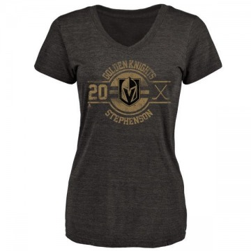 Women's Chandler Stephenson Vegas Golden Knights Insignia Tri-Blend V-Neck T-Shirt - Black